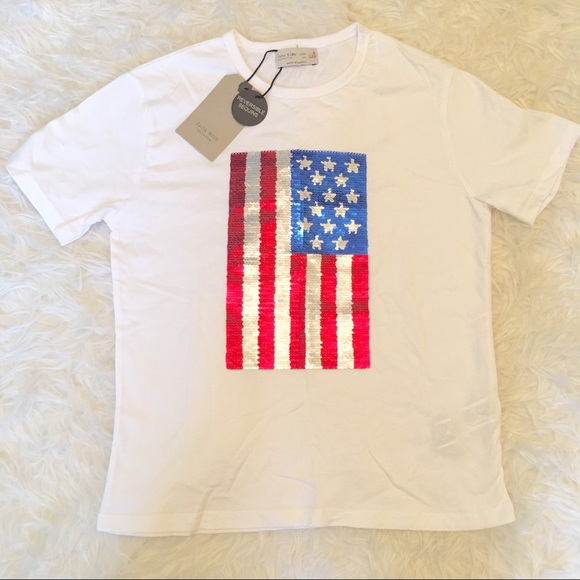 NWT Zara Boys USA Flag Reversible Flip Sequin Tee f76c8c79f26